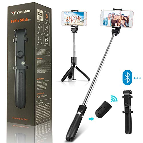 Yimidon Bastone Selfie Bluetooth Estensibile, Selfie Stick Treppiede con Wireless Remote Shutter per iPhone/Samsung/Android Smartphone - Telecomando Rimovibile, 360° Rotazione (Nero)