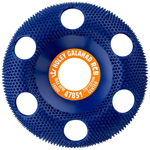 King Arthur's Tools Original and Patented Round Coarse Blue Holey Galahad Tungsten Carbide Disc for Woodworking, Shaping, and Smoothing - Fits most Standard 4 1/2