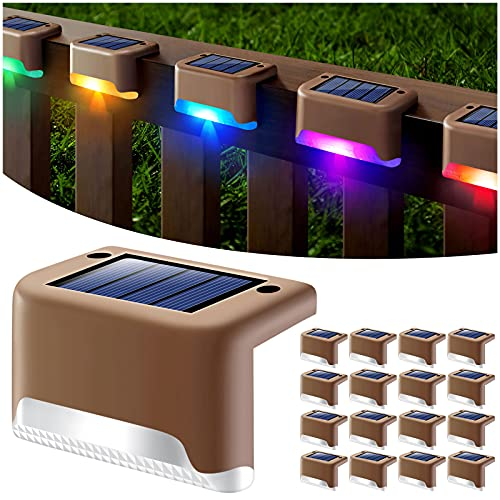 DenicMic Solar Deck Lights Outdoor, 16 Pack Solar Step Lights Waterproof Led Solar Lights for Outdoor Decks, Railing,Stairs, Step, Fence, Yard, and Patio(Color Changing)