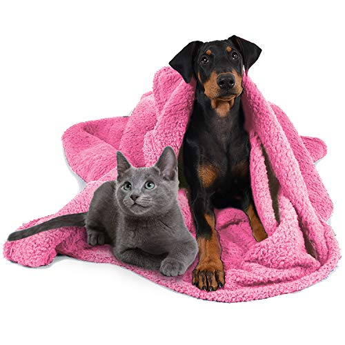 """Pawsse Large Pet Sherpa Blanket for Kennel Dog Cat, Super Soft Warm Plush Fleece Snuggle Pets Blankets Throw Cover on Couch Car Trunk Cage Carrier, Pink 50"""" x 60"""""""