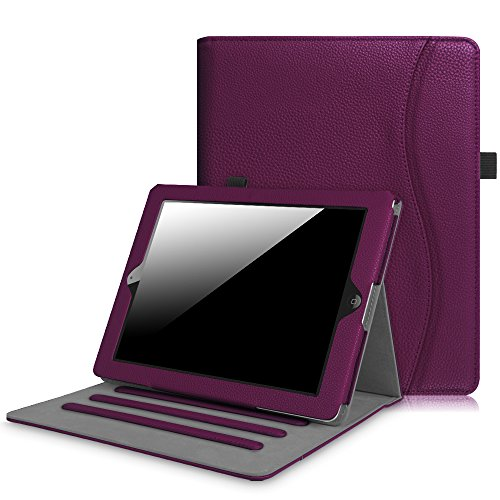 Fintie Funda para iPad 4/3 / 2 - [Protección de Esquina] [Multiángulo] Carcasa con Bolsillo y Función de Soporte y Auto-Reposo/Activación, Morado