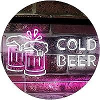 Cold Beer Bar Pub Club Décor Dual Color LED看板 ネオンプレート サイン 標識 白色 + 紫 300 x 210mm st6s32-i2069-wp