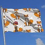 wallxxj Fahne Fuchs Hut Brille Lebendige Bunte Standard Garten Fahnen Urlaub Yard Flagge Willkommen Im Freien Druck Yard Banner 150X90 cm