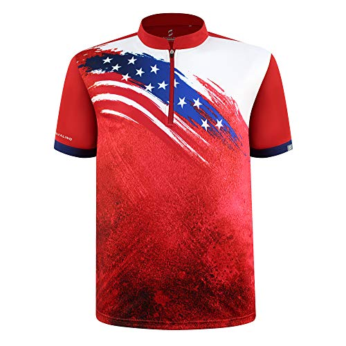 SAVALINO Men's Bowling Sublimation Printed Jersey, Material Wicks Sweat & Dries Fast, Size S-5XL Red