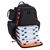 Piscifun Fishing Tackle Backpack with 4 Trays Large Capacity Waterproof Fishing Tackle Bag with 4 Tackle Boxes and Protective Rain Cover Black