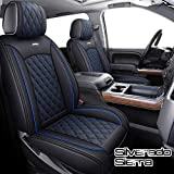 Aierxuan Seat Covers for Cars Full Set Pickup 2007-2021 GMC Sierra Chevy Silverado 1500 2500HD 3500HD Crew Double Extended Cab Waterproof Leather Truck Seat Protectors (Full Set, Black-Blue) -  YITAI
