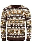 !Solid Winno Herren Weihnachtspullover Norweger-Pullover Winter Strickpullover Grobstrick Pullover mit Rundhalsausschnitt, Größe:L, Farbe:Coffee Bean (5973)