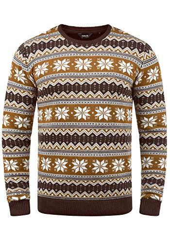 !Solid Winno Herren Weihnachtspullover Norweger-Pullover Winter Strickpullover Grobstrick Pullover mit Rundhalsausschnitt, Größe:XL, Farbe:Coffee Bean (5973)