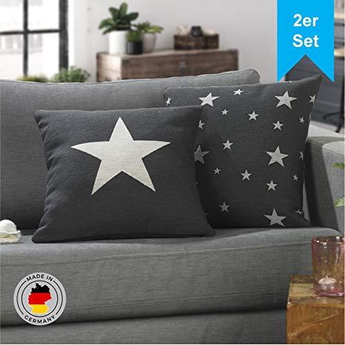 LILENO HOME 2er Set Stern Kissenbezug in antrazit (45x45 cm) - toller Stern Deko Kissen Bezug als Sofakissen ins Wohnzimmer - Sterne Kissenhüllen für Kissenfüllung als Dekokissen