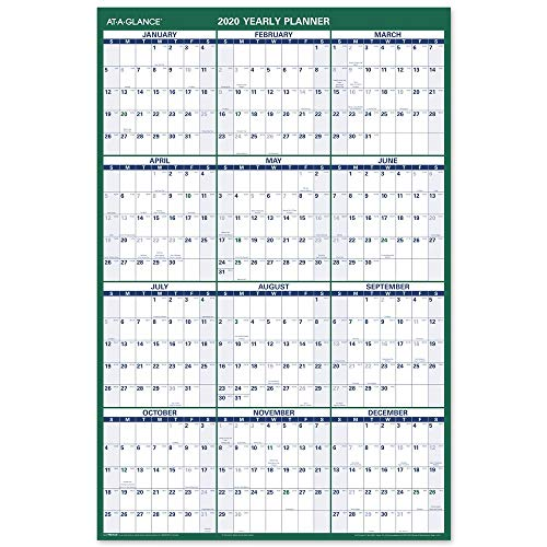 2020 Dry Erase Wall Calendar, AT-A-GLANCE Large Erasable Planner, 24u0022 x 36u0022, Vertical, Double Sided for Notes and Planning Space (PM21028)