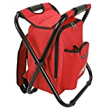 Red Backpack Cooler and Stool - Collapsible Folding Camping Chair and Insulated Cooler Bag with Zippered Front Pocket and Bottle Pocket – for Hiking, Beach and More - by Outrav