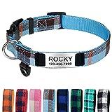 TagME Personalizado Collar Perro Pequeño , Nylon Collares con Nombre y Número de Teléfono Grabados, Neblina Azul S