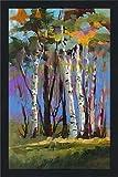 Picture Perfect International' Golden Birch Trees (Vertical) by Jane Slivka Print Acrylic Art, 35.5' x 51.5' x 0.75', Blue