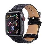 Bandmax Armband für Apple Watch, Nylon Denimstoff mit Echtem Leder Ersatzband Uhrenarmband mit...
