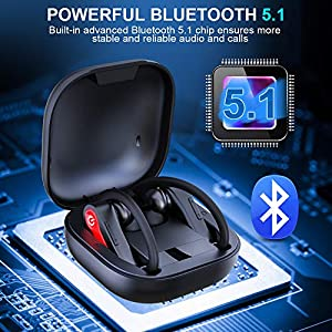 Wireless Earbuds, Motast Bluetooth 5.1 Sport Headphones IP7 Waterproof 40H Playtime TWS Earhooks Headset with Charging Case Stereo Sound CVC8.0 Noise Cancelling Wireless Earphone for Running Gym
