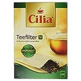 Cilia Teefilter-Set, Papier-Filter zur Verwendung mit und ohne Halter, 100 Stück, Größe: M, Naturbraun, 125425