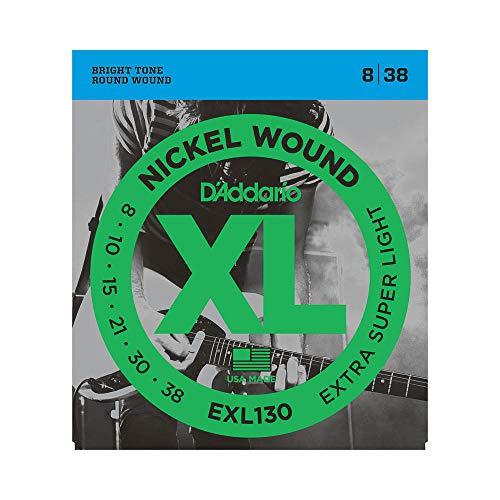 D'Addario EXL130 Juego de Cuerdas, Plateado, Extra Super Light, 08-38