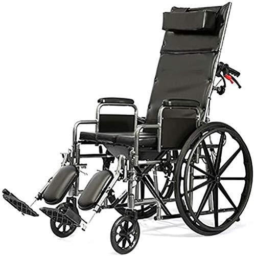 GUOZ Transport Dusche Rollstuhl Bad Toilette Commode, ist Klappstuhl Tragbares Nacht Commodes, Leichte Stahlrahmen,Schwarz