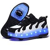 XOMAYI1 Unisexe Enfants Chaussures à roulettes garçon Fille Respirant Patins à roulettes Double Roues Retractable Basket a...