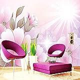 XHXI Flores rosas Foto Sala de estar TV Sofá Dormitorio Pared Muebles para el hogar Pared Pintado Papel tapiz Decoración dormitorio Fotomural sala sofá mural-400cm×280cm