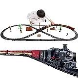 N / A Juego de Tren Modelo eléctrico, Kits de Tren de Motor de Locomotora de Vapor, con Sonido de Trenes Realista, Luces de Humo, fácil Montaje, para niños de 3 años en adelante