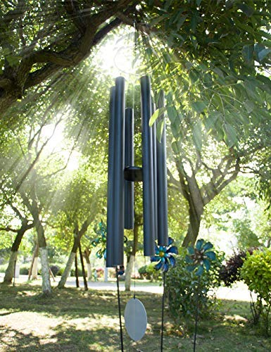"""Afirst 66"""" Black Big Metal Wind Chimes, Wind Chimes Outdoor Deep Tone with 6 Metal Tubes, Memorial Wind Chimes for Patio Balcony Garden Home Decor"""