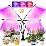 Grow Light for Indoor Plants, Upgraded 80 LEDs Full Spectrum 10 Dimming Level & 4 Heads Grow Lamp with Timer for Seedling Growing Blooming Frui