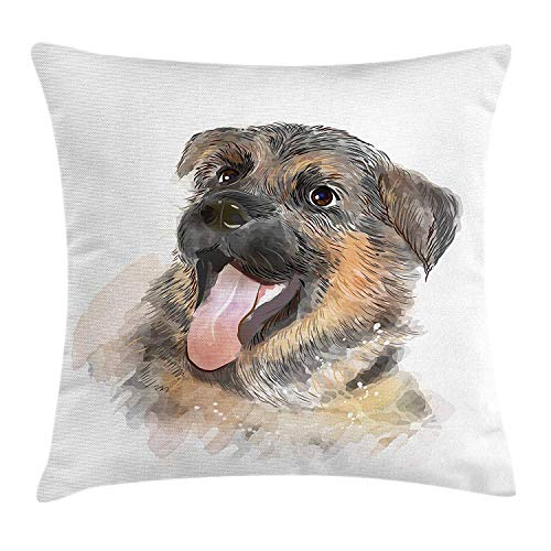 German Shepherd Throw Pillow Cushion Cover, Portrait of a Pure Breed Puppy with a Happy Expression, Decorative Square Accent Pillow Case, 18 X 18 inches, Taupe Pale Pink Pale Brown