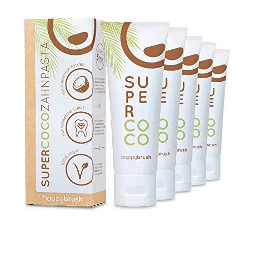 happybrush® Teeth Whitening Zahnpasta für natürliche Kokos Zahnaufhellung   Kokosnuss Zahnpasta SuperCoco für Weiße Zähne (5 Stück 75ml)