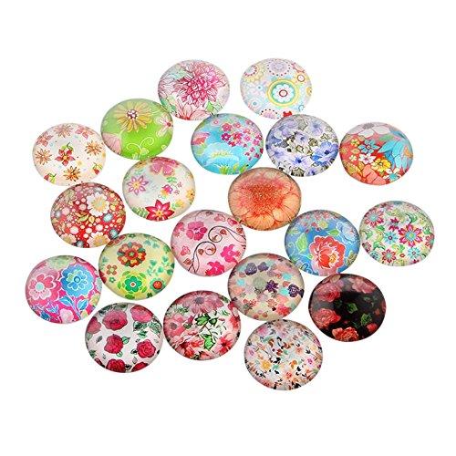 PandaHall 20 Stück Blume oder Floral Gedruckt Glascabochons Halbrund Kuppel Mischfarbe Gemischte Farbe 12x4 mm