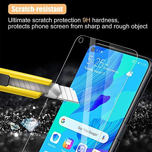 UniqueMe [3 Stück] Schutzfolie für Huawei Nova 5T Panzerglas, HD klar gehärtetes Glas Displayschutz [9H Härte Folie] [Anti-Fingerabdruck] Displayschutzfolie - 4
