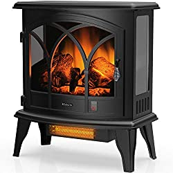 """TURBRO Suburbs TS23-C Electric Fireplace Infrared Heater with Curved Door- Freestanding Fireplace Stove with Adjustable Flame Effects, Overheating Protection, Timer, Remote Control - 23"""" 1400W Black"""