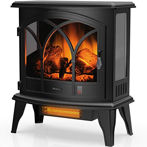 "TURBRO Suburbs TS23-C Electric Fireplace Infrared Heater with Curved Door- Freestanding Fireplace Stove with Adjustable Flame Effects, Overheating Protection, Timer, Remote Control - 23"" 1400W Black"