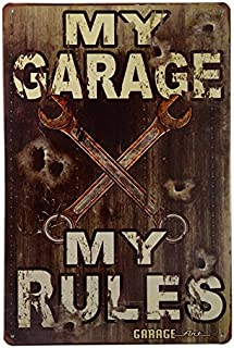 dingleiever-My Garage - My Rules Sign - Vintage Style Made from 24 Gauge Metal with Rusted Corners for The Vintage Sign Look