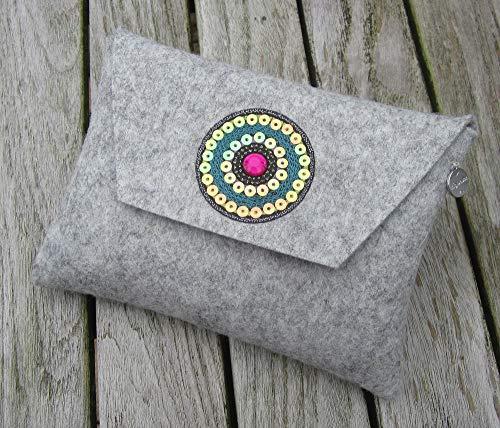 zigbaxx Filz Tasche Clutch Mäppchen IBIZA für Kosmetik, Stifte, Diabetiker-Besteck-Zubehör, Accessoires aus 100% Woll-Filz mit Stickapplikation, grau schwarz pink beige braun, Geschenk Weihnachten