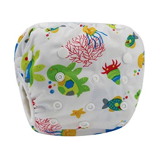 HAPPY CHERRY Babywindeln Waschbare Baby Schwimmwindel Windel Hose Stern Fisch Drucken Baby-Tuch Windeln Stoffwindeln Größe Verstellbar - Weiß