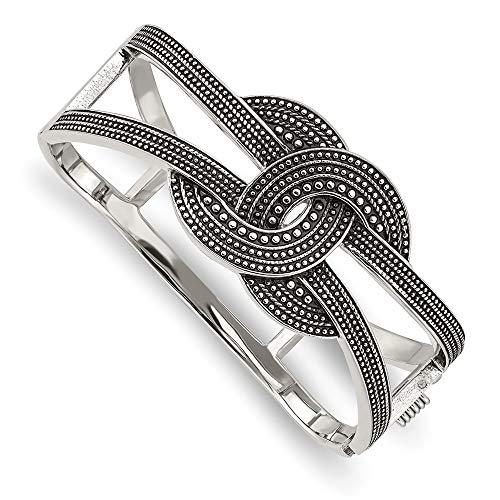Edelstahl poliert Antik strukturiert Scharnier Armreif Armband