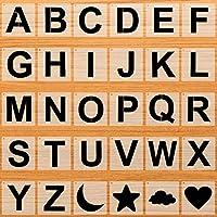 文字テンプレート アルファベットとパターンステンシル 木製ペイント用 5インチ 文字ステンシル クラフト 大きな文字テンプレート 再利用可能なプラスチックステンシル クラフト用 DIYデコレーション用品