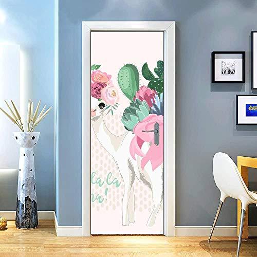 KEXIU 3D Alpaca con flores PVC fotografía adhesivo vinilo puerta pegatina cocina baño decoración mural 77x200cm