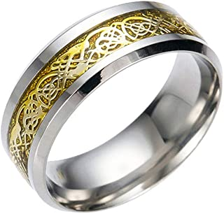Rings for Women Silicone Wedding Ring Nose Belly Button Titanium Steel Dragon Ring with Silver Golden Dragon Stainless Steel Ring (Gold, 13)