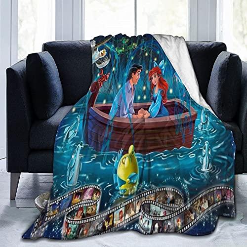 Coperta in pelliccia con sirenetta Disney, calda e confortevole, morbida e simpatica coperta, adatta per divano, sedia e letto