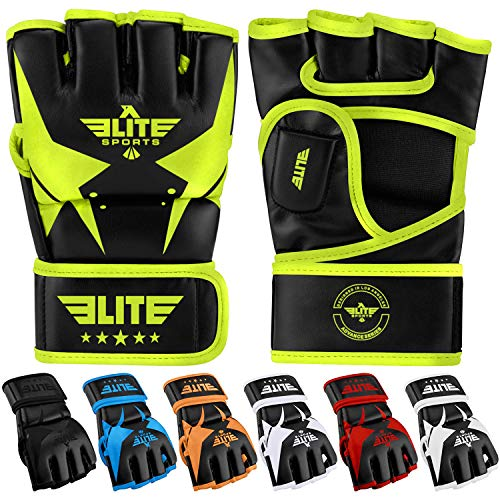 MMA UFC Gloves for Men, Women, and Kids, Elite Sports Best Mixed Martial Arts Sparring Training Grappling Fighting Gloves (Green/Black, Medium)