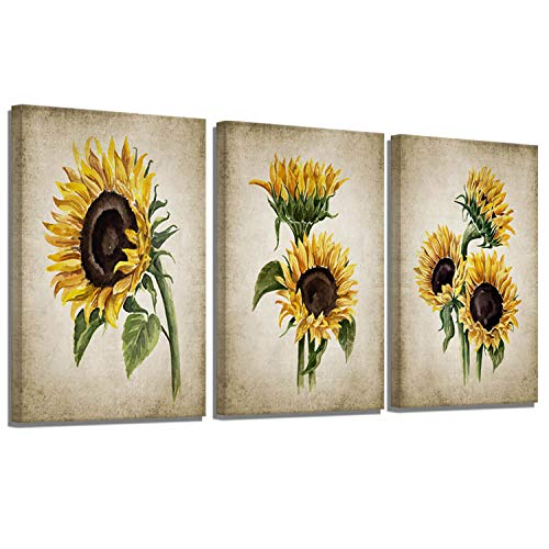Sunflower Kitchen Decor Simple Life Large Rustic Wall Decor Vintage Watercolor Sunflower Wall Pictures for Bedroom 3 Pieces Country Canvas Wall Art Flower Painting Farmhouse Art Wall Decor 16x24inchx3