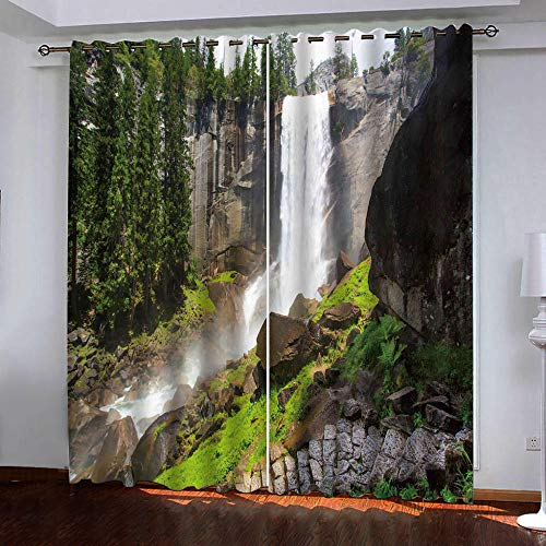 HomeAZWQ Cortina Opaca Dormitorio Infantil Bebe Niño Niña Cascadas Paisaje Natural H100 X W200Cm