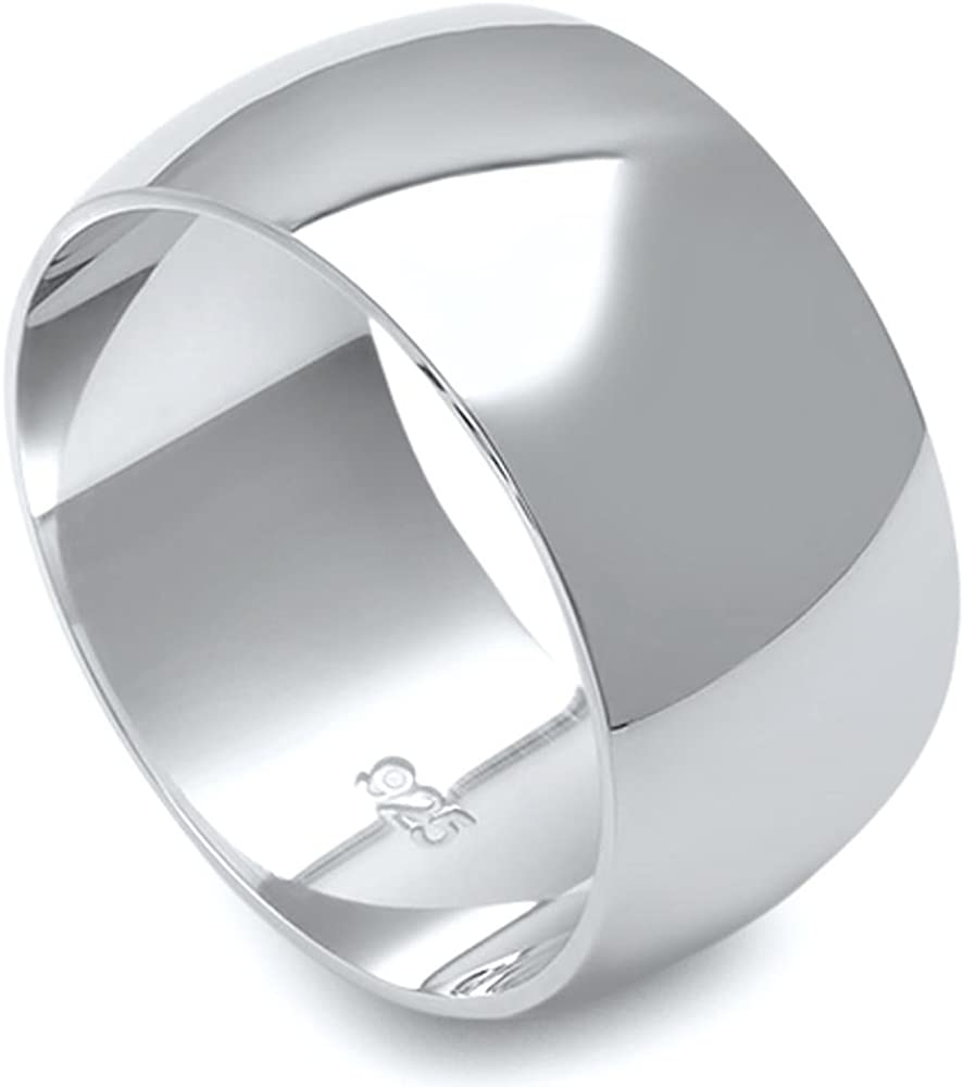 925 Ranking TOP2 Sterling Silver Round It is very popular Plain Bridal 10MM Ring Band
