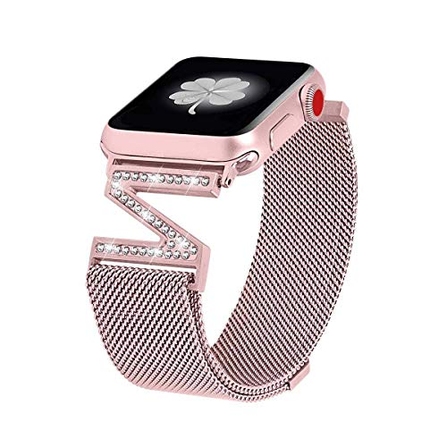 Metal Bands Compatible with Apple Watch 38mm 40mm 42mm 44mm Stainless Steel Strap Replacement Link Bracelet Band Sport Soft Breathable for Iwatch Series 6/SE/5/4/3/2/1 for Women Men Girl Boy, Black
