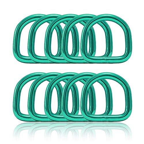 Ganzoo D - ring van staal, set van 10, materiaaldikte 4 mm, DIY hondenhalsband, roestvrij, ideaal met Paracord 550, kleur turquoise