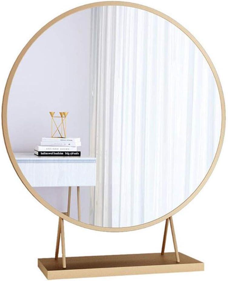 Jiabao Popular standard Golden freestanding Desktop Recommendation Makeup Mirror Large Round Dre