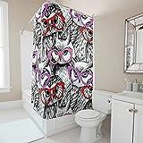 Ainiteey Animal Creative Home Ideas Fresco Fácil Cuidado Tela Cortina y Alfombra de Baño Set con Cierre para Baño Ducha Organizador Poliéster Blanco 180x200cm