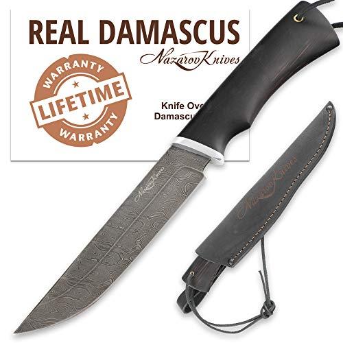 Fixed Blade Knife - Deer Hunting Knife - Real Damascus - Hornbeam - OVOD - Leather Sheath